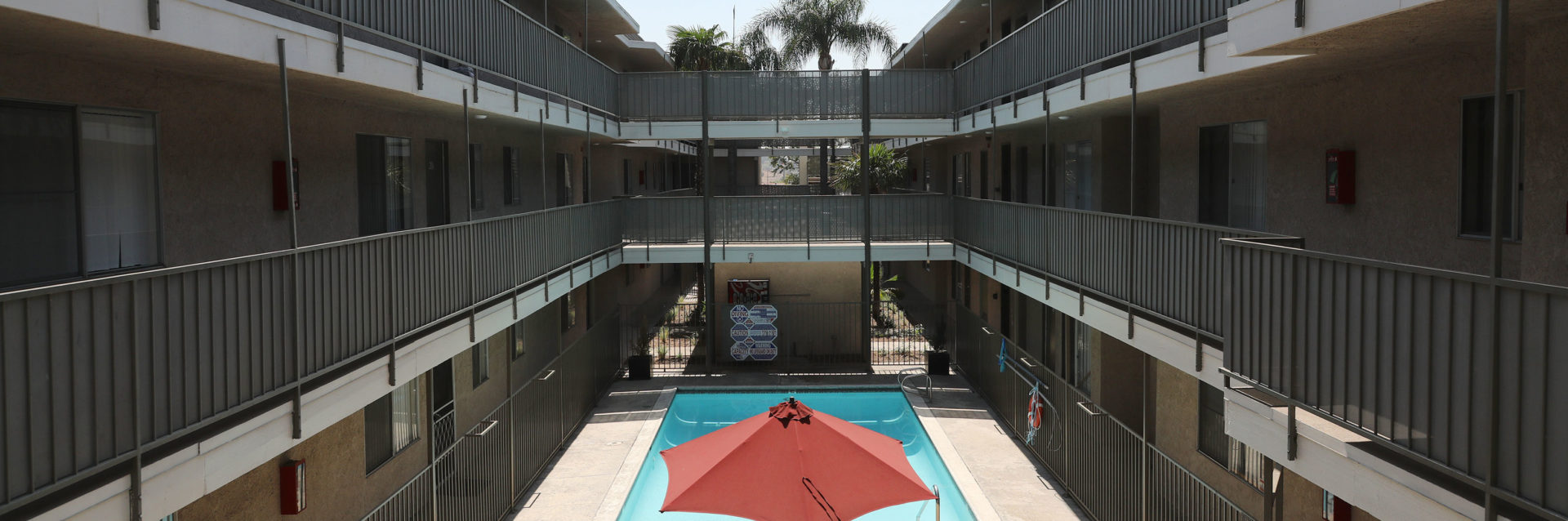 Pool area of Kendall Brook Apartments San Bernardino, CA